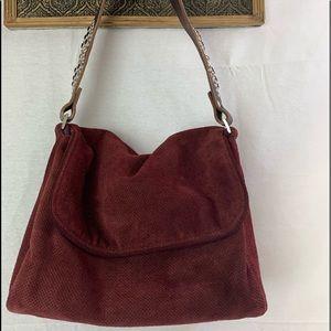 Tylie Malibu Suede Flap Jewel Leather Shoulder Bag